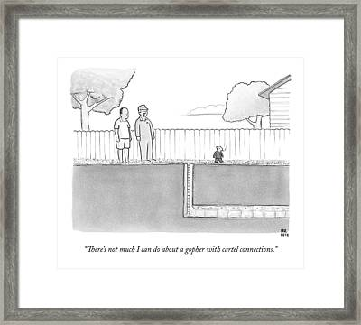 An Exterminator And Home-owner Look Framed Print