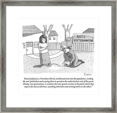 An Exterminator Explains What He Is Doing Framed Print