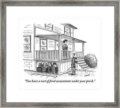 An Exterminator Points Out A Group Of Accountants Framed Print by Tom Cheney