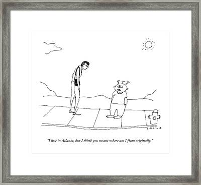 An Extraterrestrial Speaks To A Woman Framed Print
