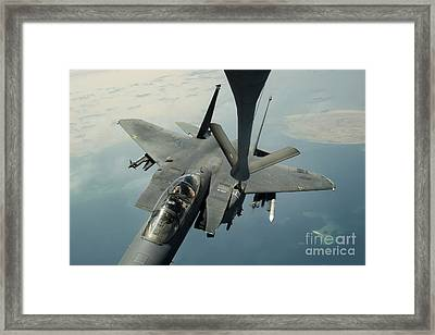 An F-15e Strike Eagle Receives Fuel Framed Print by Stocktrek Images