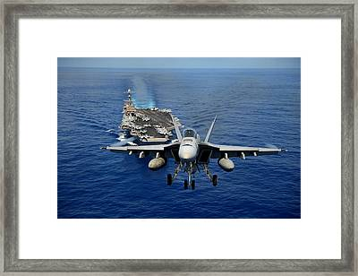 An F/a-18 Hornet Demonstrates Air Power. Framed Print