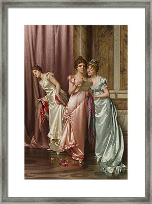 An Illicit Letter Framed Print by Vittorio Reggianini