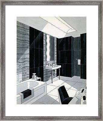 An Illustration Of A Bathroom Framed Print by Urban Weis