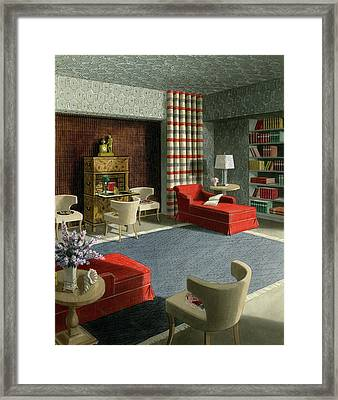 An Illustration Of A Home Library Framed Print by Urban Weis