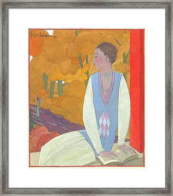 An Illustration Of A Young Woman For Vogue Framed Print by Georges Lepape