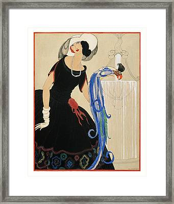An Illustration Of A Young Woman For Vogue Framed Print