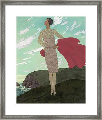 An Illustration Of A Young Woman For Vogue Framed Print by Pierre Brissaud