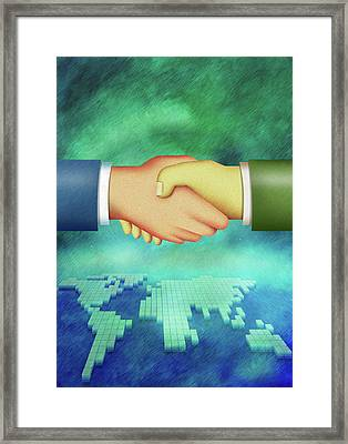 An Illustration Of Handshake Framed Print by Visage