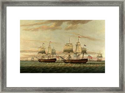 An Indiaman And A Two Decker Hove To, Said To Be Thomas Framed Print by Litz Collection