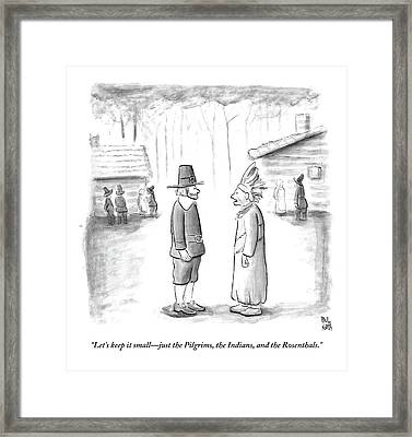 An Indian Chief Speaks To A Pilgrim Framed Print