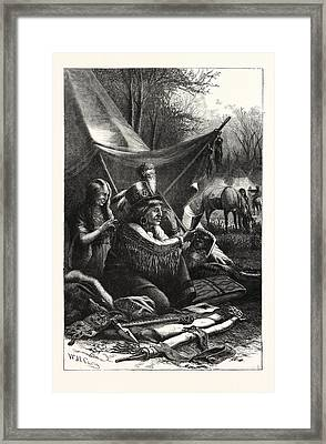 An Indian Toilet, Engraving 1876, Us, Usa Framed Print
