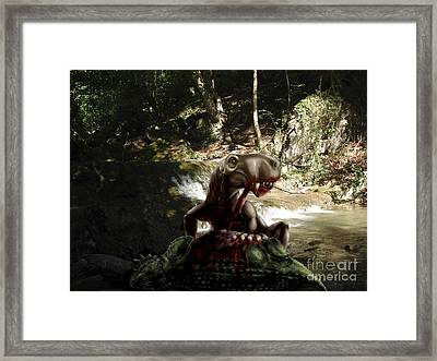 An Inostrancevia Eating The Flesh Framed Print by Yuriy Priymak