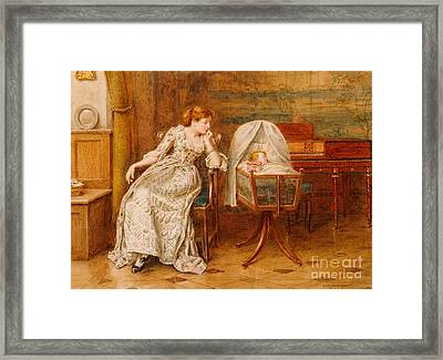 An Interior With A Mother And Child Framed Print