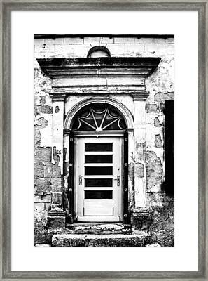 An Intriguing Door In Black And White Framed Print