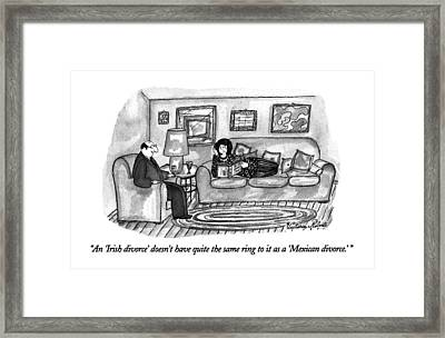 An 'irish Divorce' Doesn't Have Quite The Same Framed Print by Victoria Roberts