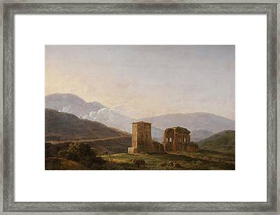 An Italianate Landscape With Ruins And Cattle Framed Print
