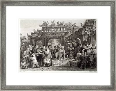 An Itinerant Chinese Doctor At Framed Print by Mary Evans Picture Library