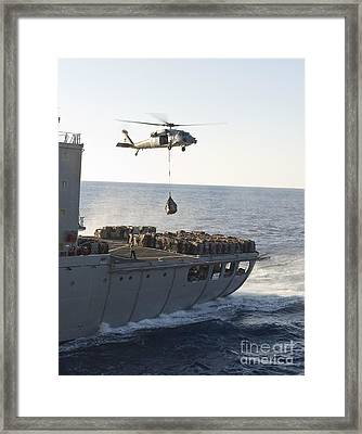 An Mh-60s Sea Hawk Helicopter Carries Framed Print