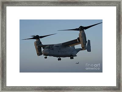 An Mv-22 Osprey Prepares To Land Framed Print by Stocktrek Images