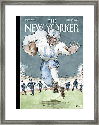 An Nfl Player Runs From The Police Framed Print