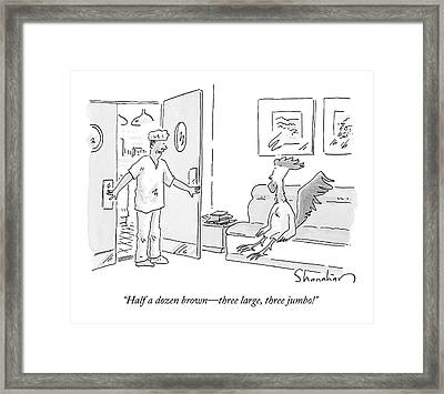 An Obstetrician/doctor Notifies A  Rooster Framed Print by Danny Shanahan