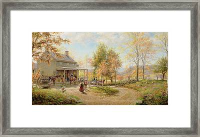 An October Day Framed Print by Edward Lamson Henry