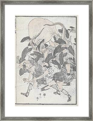 An Octopus Overpowering Two People Framed Print by British Library