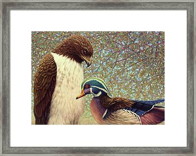 An Odd Couple Framed Print by James W Johnson
