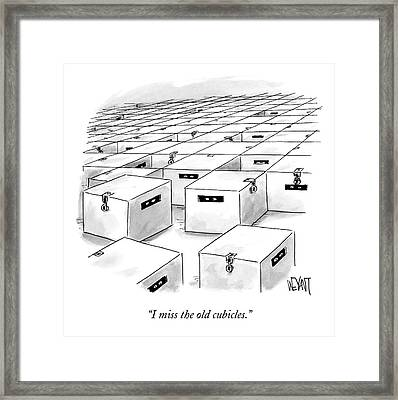 An Office  Full Of Locked Boxes With Eyes Looking Framed Print