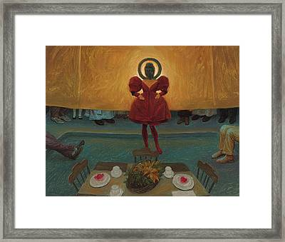 An Oil Study For Buddha In Red Framed Print