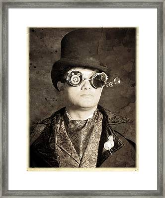 An Old Battered Photograph Of A Well-dressed Gentleman Framed Print by Evan Butterfield