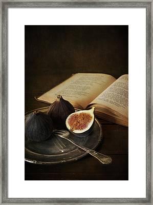 An Old Books And Fresh Figs Framed Print by Jaroslaw Blaminsky