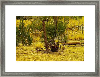 An Old Grass Cutter In Lincoln City New Mexico Framed Print by Jeff Swan