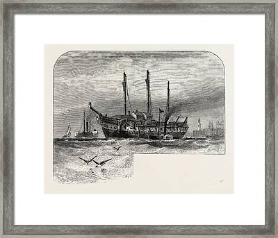 An Old Hulk In The Thames, Uk, Britain, British Framed Print by English School