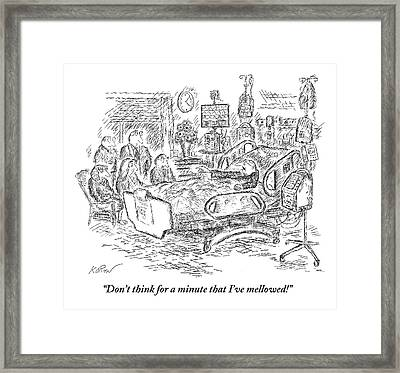 An Old Man In A Hospital Bed Talks To His Five Framed Print by Edward Koren