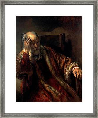 An Old Man In An Armchair Framed Print by Rembrandt Harmensz van Rijn