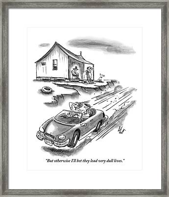 An Old Married Couple Sitting On Their Porch Framed Print