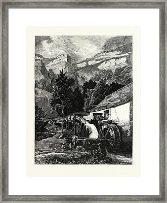 An Old Mill In The Jura Mountains. Mountains Framed Print