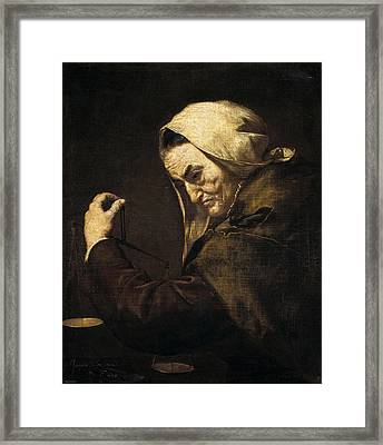 An Old Money-lender  Framed Print by Jusepe de Ribera