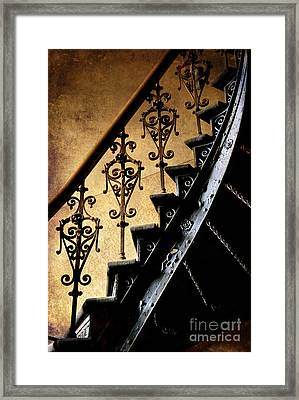 An Old Ornamented Handrail And Metal Spiral Stairs Framed Print by Jaroslaw Blaminsky
