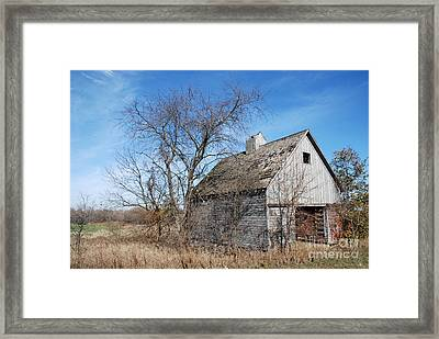 An Old Rundown Abandoned Wooden Barn Under A Blue Sky In Midwestern Illinois Usa Framed Print by Paul Velgos