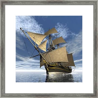 An Old Sailing Ship Navigating Framed Print