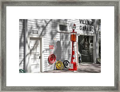 An Old Village Gas Station Framed Print by Mal Bray