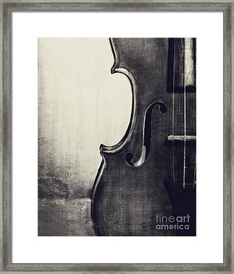 An Old Violin In Black And White Framed Print