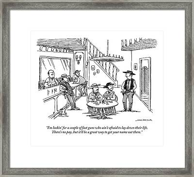 An Old Western Cowboy Speaks To Other Cowboys Framed Print