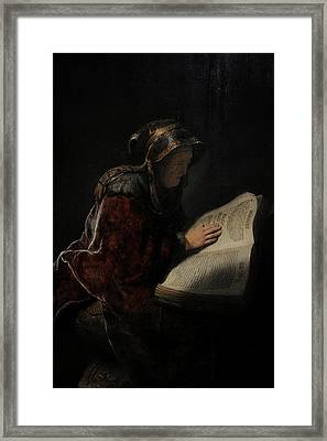 An Old Woman Reading, Probably The Prophetess Hannah, 1631, By Rembrandt 1606-1669 Framed Print by Bridgeman Images