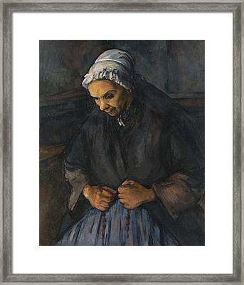 An Old Woman With A Rosary Framed Print
