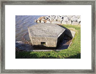An Old World War Two Pill Box Flooded Framed Print by Ashley Cooper