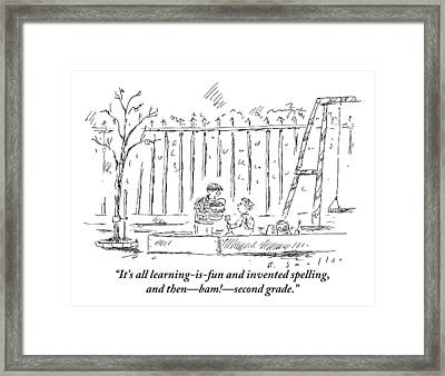 An Older Child Speaks To Younger Child Framed Print by Barbara Smaller